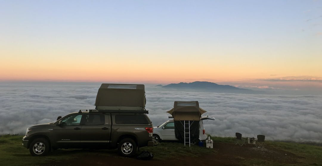 Camping Map Over the Clouds in Maui HI